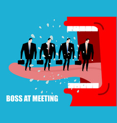 boss at meeting scolds subordinates angry chief vector image vector image