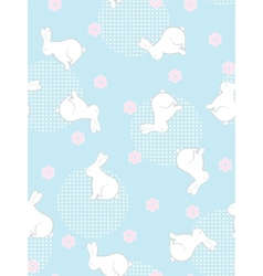 Seamless flowers and rabbits background vector image