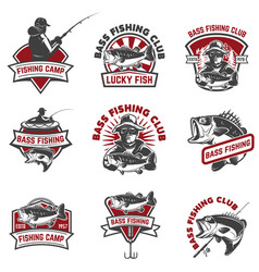Set of bass fishing emblem templates isolated on vector