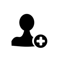 user profile sign web icon with plus glyph vector image