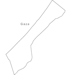 Black White Gaza Outline Map vector image
