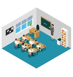 Children At Lesson Isometric Template vector image