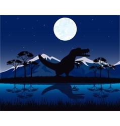 Dinosaur on nature vector image