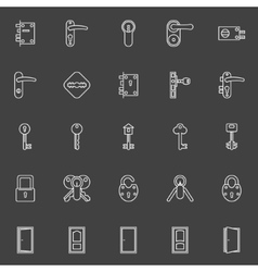 Door lock and key icons vector image