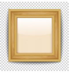 empty gold frame on transparent background wooden vector image