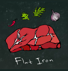 flat iron steak cut isolated on chalkboard vector image