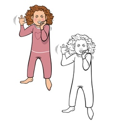 Girl tantrum coloring book vector