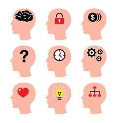 Head man thoughts brain icons set vector image