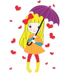 Umbrella Blond Girl vector image vector image