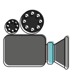 video camera icon in watercolor silhouette vector image vector image