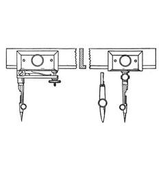 beam compass sliding sockets vintage engraving vector image vector image