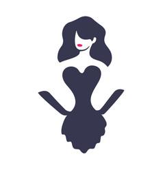 beautiful girl logo design vector image