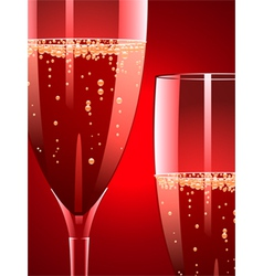 champagne flutes on a red background vector image vector image