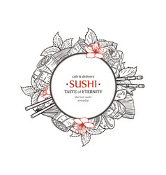 doodle sushi restaurant and delivery design vector image