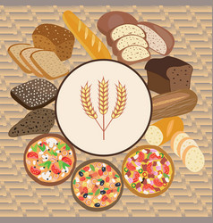 set of wheat cartoon food bread rye bread vector image