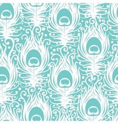 Soft peacock feathers seamless pattern background vector image vector image