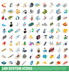 100 system icons set isometric 3d style vector image