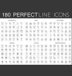 180 modern thin line icons set of household baby vector image vector image