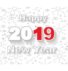2019 happy new year linear style white vector image