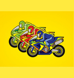3 motorcycle racing team side view graphic vector image