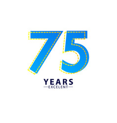 75 years excellent anniversary celebration blue vector