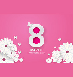 8 march happy mothers day paper cut butterfly vector image