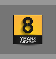 8 years anniversary in square yellow and black vector
