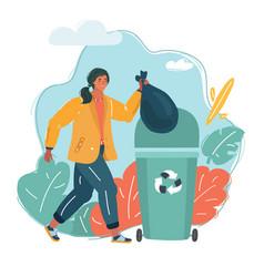 a woman throws trash vector image