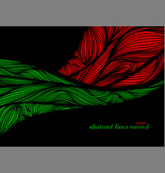 Abstract green and red lines art pattern vector