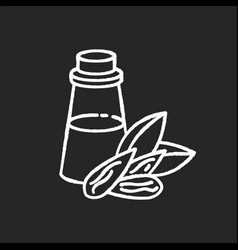 Almond oil chalk white icon on black background vector