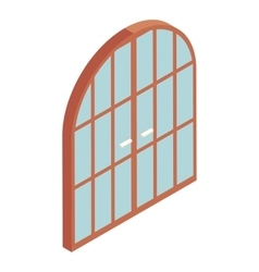 Arched double door icon cartoon style vector image