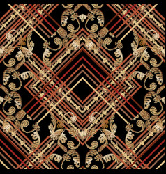 baroque embroidery striped seamless pattern vector image