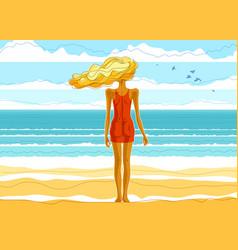 beautiful slim skinny girl stands at seashore vector image