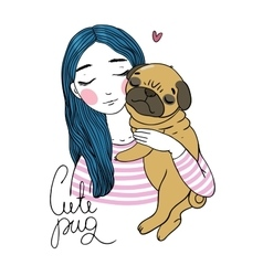 Beautiful young girl and a cute pug vector