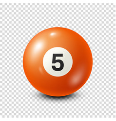 Billiardorange pool ball with number 5snooker vector