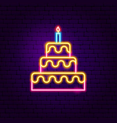 birthday cake neon sign vector image