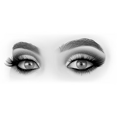 Black and white eyes makeup vector