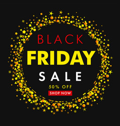 black friday sale on yellow stars vector image
