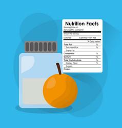 bottle glass orange nutrition facts sticker vector image