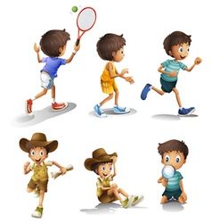 Boys with different activities vector image