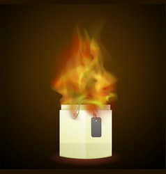 burning paper shopping bag vector image