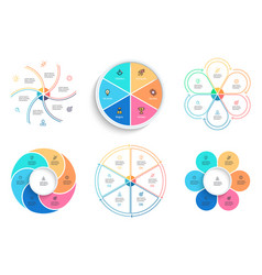 business infographics pie charts with 6 steps vector image