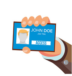 businessman holding id card hand and vector image