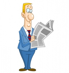 businessman reading newspaper vector image vector image