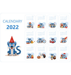 Calendar design template for 2022 year of blue vector