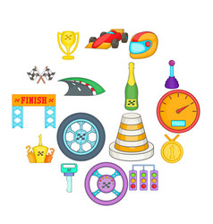 car racing icons set cartoon style vector image