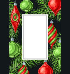 christmas frame with balls vector image