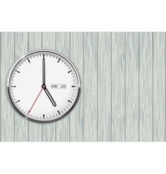 Clock on wooden grey background vector
