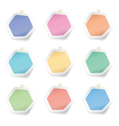 collection of colorful hexagon sticky paper notes vector image