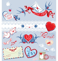 Collection of love mail design elements - birds vector